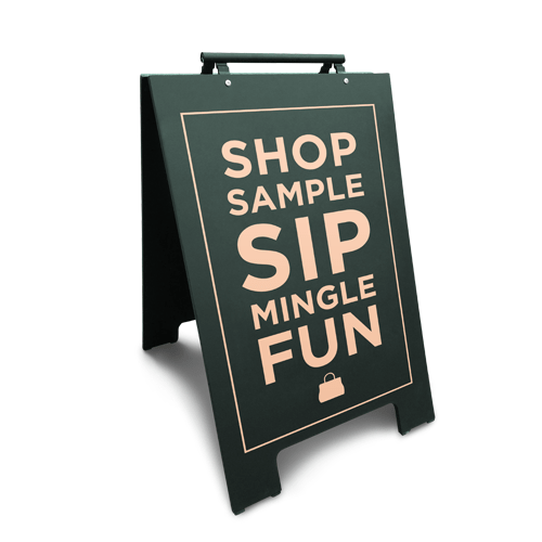 Minimalist sandwich board sign on a white background. Sample text is faint with gold, with varying letter sizes and boldness.