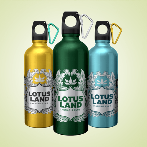 Waterbottles with a company's logo printed on the surface. One example of promotional product services from Instant imrpints.