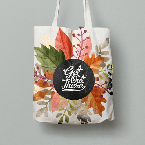 A white totebag with a custom printed logo. A popular promotional product for those who look to market themselves indirectly.
