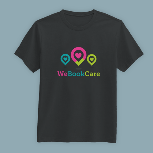 "A black custom t-shirt that reads ""we book care"" on a table. The design has three upside down tear drops with hearts inside."