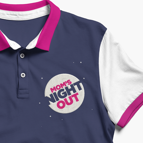 "An custom embroidered t-shirt. The design is a circle with the text ""mom's night out."" Little stars are sprinkled around it."