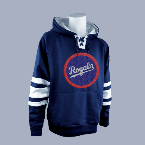 A blue drawstring hoodie with custom embroidery on it. The embroidered patch is a circle with the word