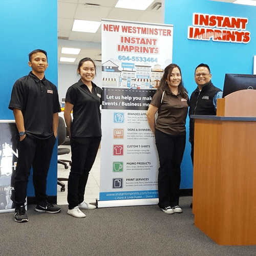 The faces behind instant imprints new west- here are the four employees that help with the production of our printing orders!