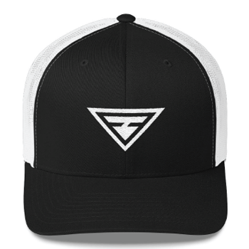A black hat, with an embroidered logo on the front. The logo design is a white triangle, with another filled triangle inside.